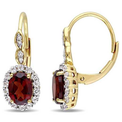 BAL000125: Garnet/Wht Topaz/Diamnd Acent Vintage Earrings/14kYelow Gold