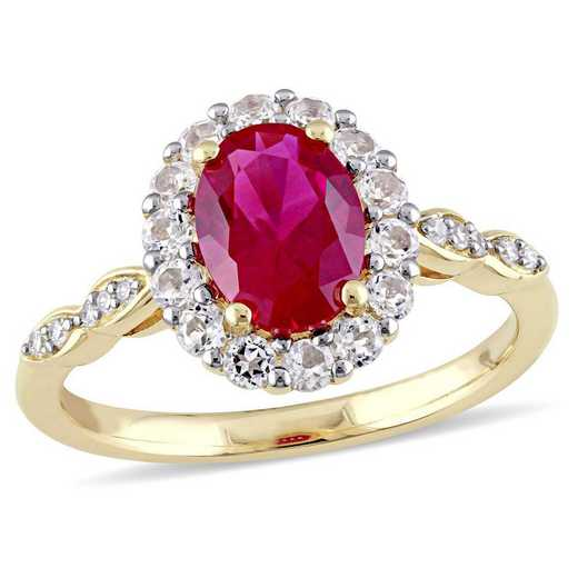 Created Ruby- White Topaz and Diamond Accent Halo Vintage Ring in 14k Yellow Gold
