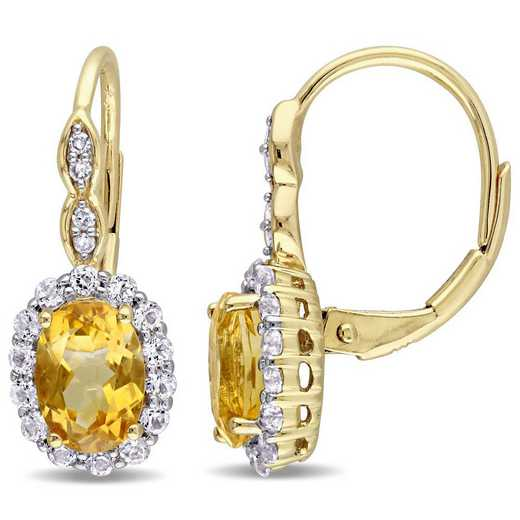 BAL000128: Citrine/Wht Topaz/Diamnd Accent Vintag Earing in 14kYelowGld