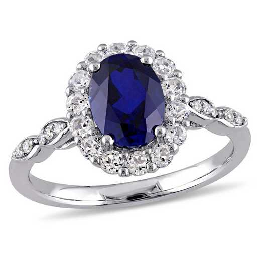 Created Blue Sapphire- White Topaz and Diamond Accent Halo Vintage Ring in 14k White Gold