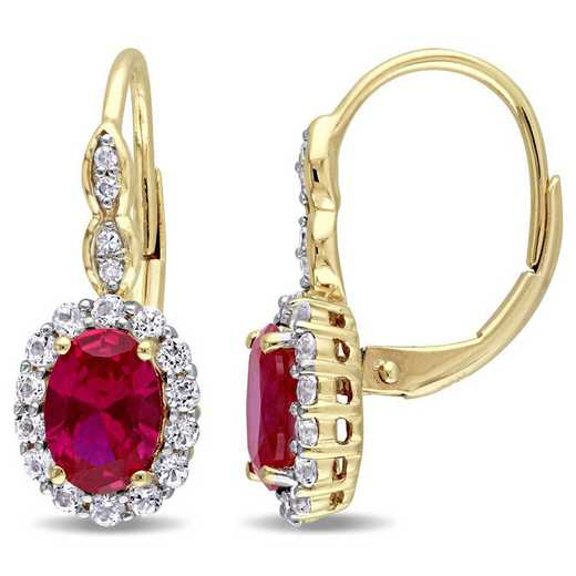 BAL000131: Create Ruby/Wht Topaz/Diamnd Acent Vintag Earing/14kYelowGld