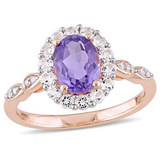 Amethyst- White Topaz and Diamond Accent Halo Vintage Ring in 14k Rose Gold