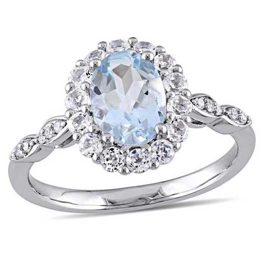Aquamarine- White Topaz and Diamond Accent Halo Vintage Ring in 14k White Gold