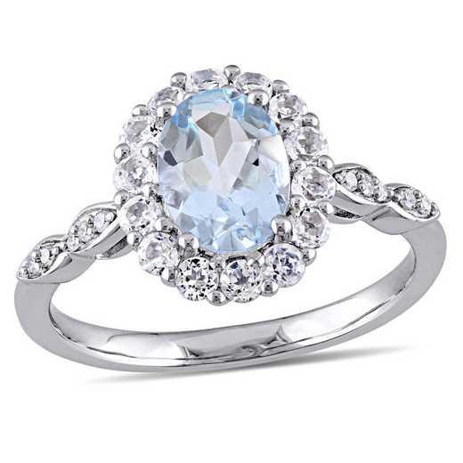 Aquamarine- White Topaz and Diamond Accent Halo Vintage Ring in 14k White Gold