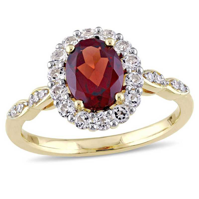 Garnet- White Topaz- and Diamond Accent Halo Vintage Ring in 14k Yellow Gold