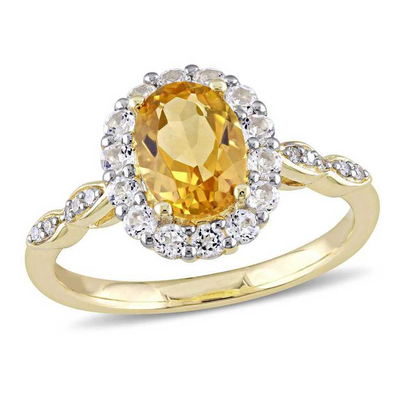 Citrine- White Topaz and Diamond Accent Halo Vintage Ring in 14k Yellow Gold