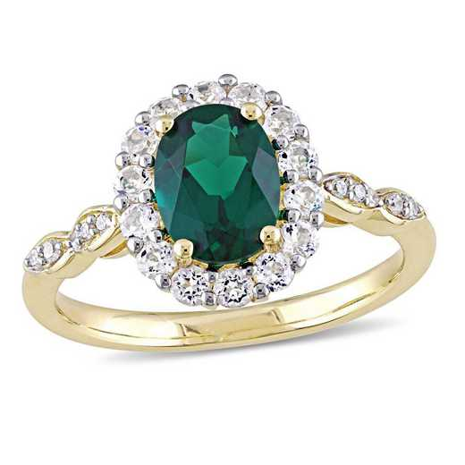 Created Emerald- White Topaz and Diamond Accent Halo Vintage Ring in 14k Yellow Gold