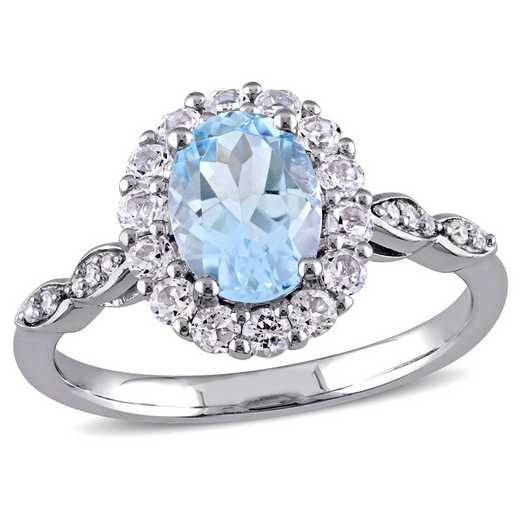 Blue Topaz- White Topaz and Diamond Accent Halo Vintage Ring in 14k White Gold