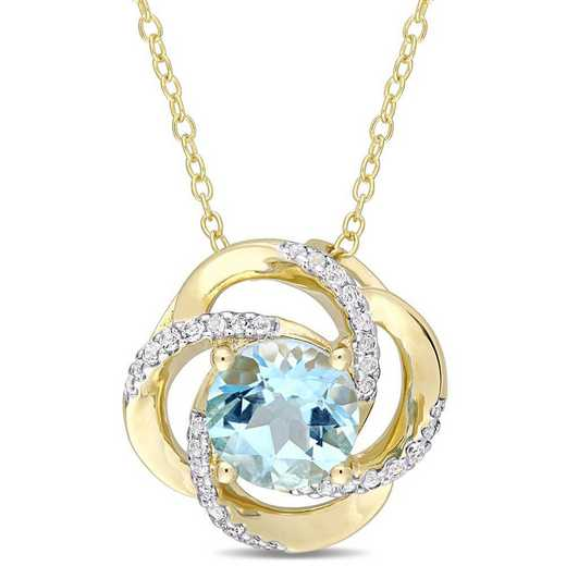 BAL000261: Blue/Wht Topaz Interlaced Swirl Necklace in Yelow SS