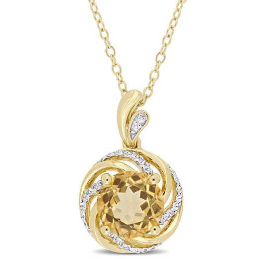 BAL000271: Citrine Wht Topaz/Diamond Swirl Necklace in Yelow Plated SS