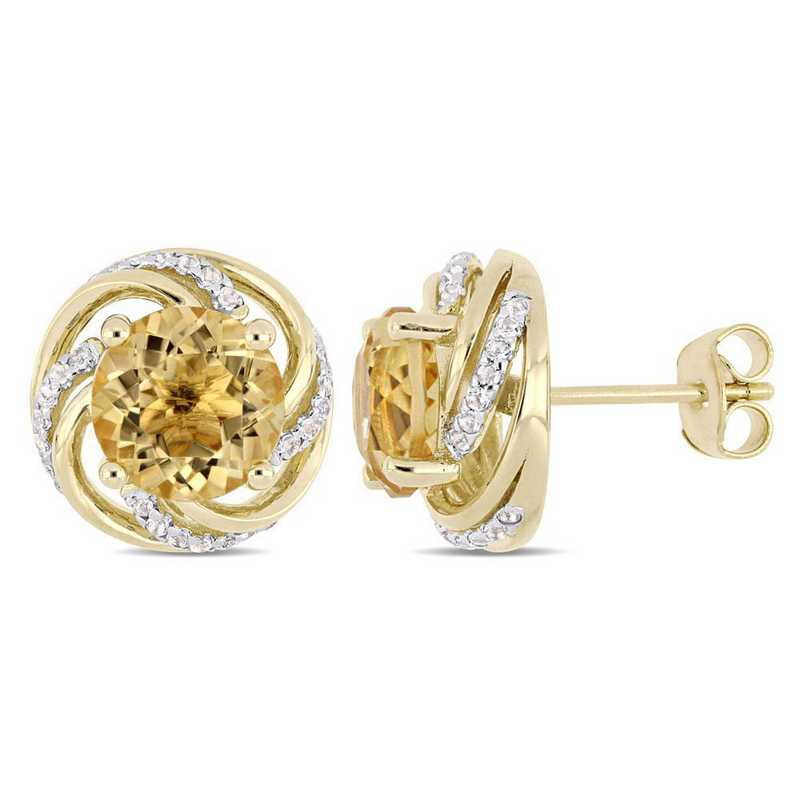 BAL000272: Citrine/Wht Topaz Swirl Stud Earrings in Yelow Plated SS