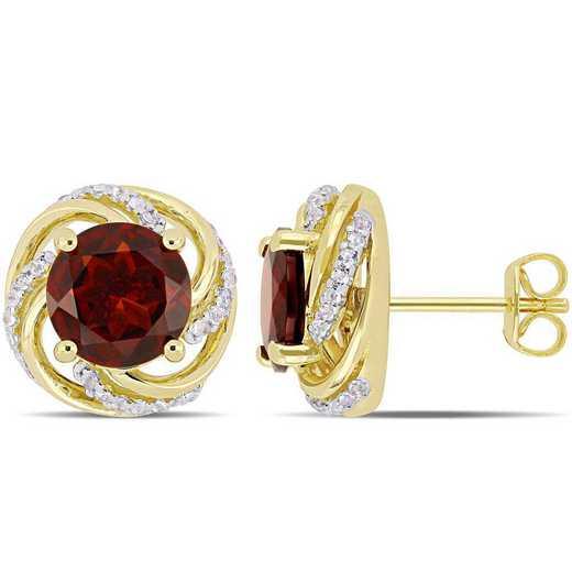 BAL000273: Garnet/Wht Topaz Swirl Stud Earrings in Yelow Plated SS