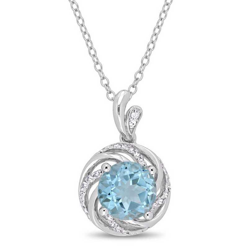 BAL000274: Blue Topaz Wht Topaz/Diamond Swirl Necklace in SS