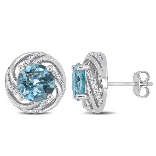 BAL000275: Blue Topaz/Wht Topaz Swirl Stud Earrings in SS