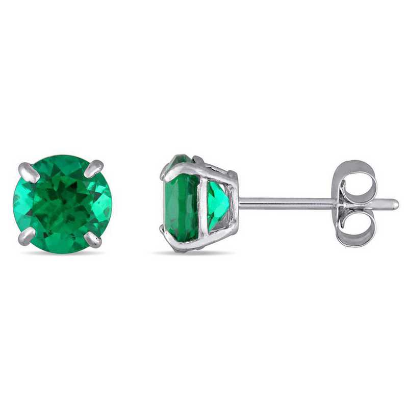 BAL000519: Created Emerald Solitaire Stud Earrings in 10k Wht Gold