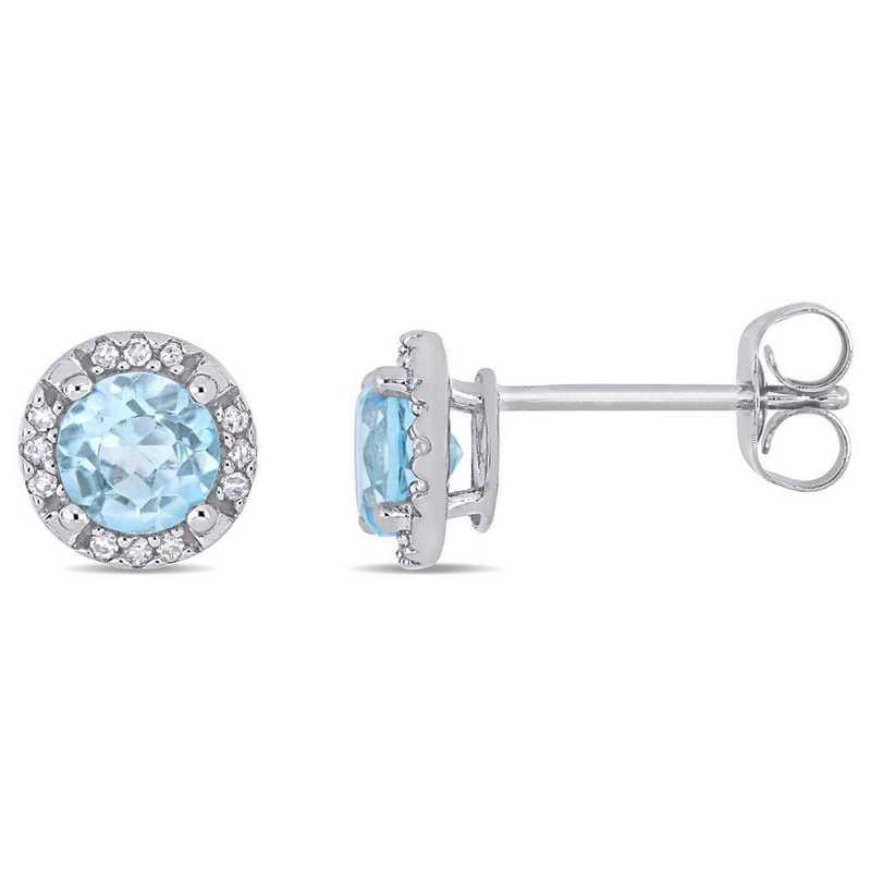 BAL000523: Blue Topaz/Diamond Halo Stud Earrings in 10k Wht Gold