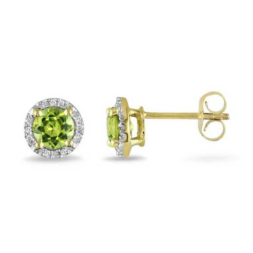 BAL000524: Peridot/Diamond Halo Stud Earrings in 10k Yelow Gold
