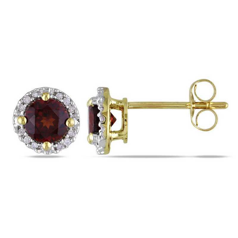 BAL000525: Garnet/Diamond Halo Stud Earrings in 10k Yelow Gold