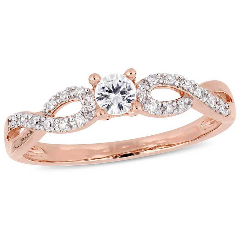 Created White Sapphire and Diamond Accent Infinity Ring in Rose Plated Sterling Silver