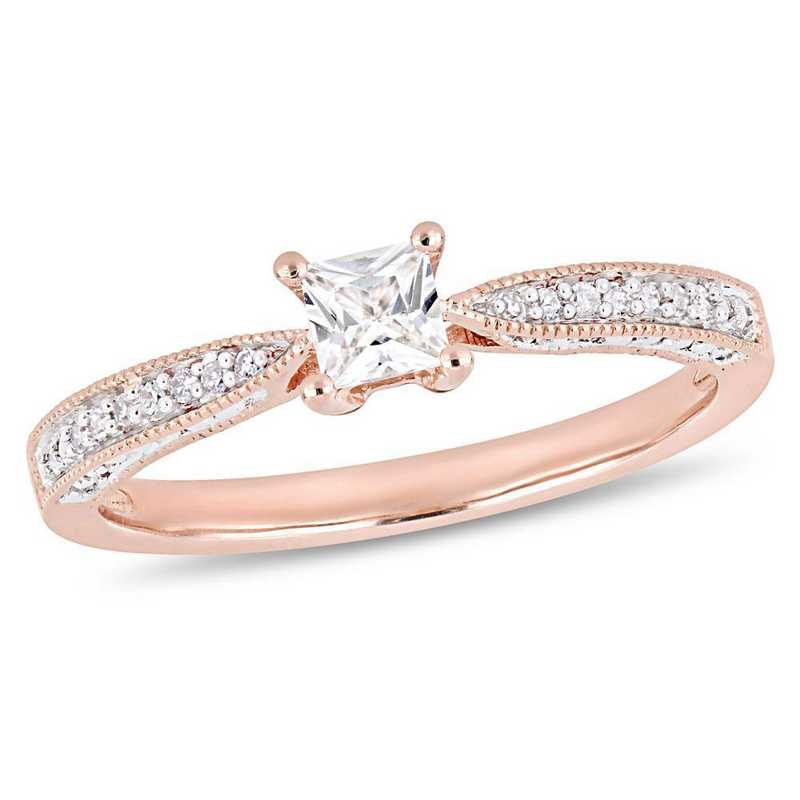 Created White Sapphire and Diamond Accent Promise Ring in Rose Plated Sterling Silver