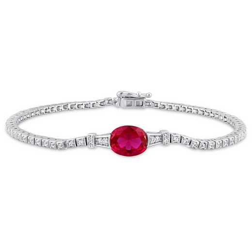BAL000751: Create Ruby/Created Wht Sapp Stationed Tenis Bracelet in SS