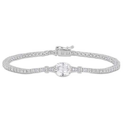 BAL000753: Create Wht Sapphire/Stationed Tennis Bracelet in SS
