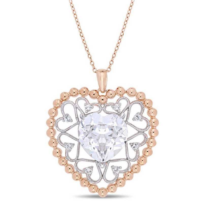 BAL000760: Created Wht Sapphire Open Heart Pendant in Rose Plated SS