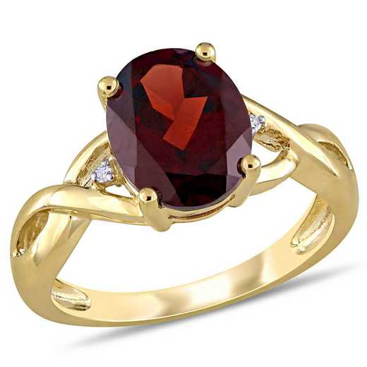Oval Garnet Ring with Diamond Accents in 10k Yellow Gold