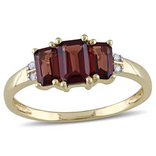 Garnet and Diamond Accent 3-Stone Ring in 10k Yellow Gold