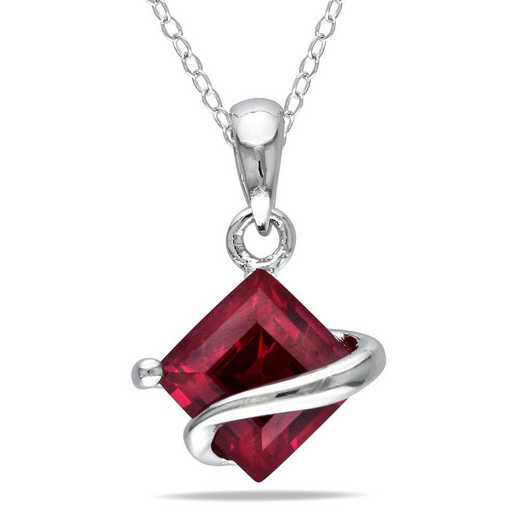 BAL000877: Created Ruby Square Pendant With Chain/SS