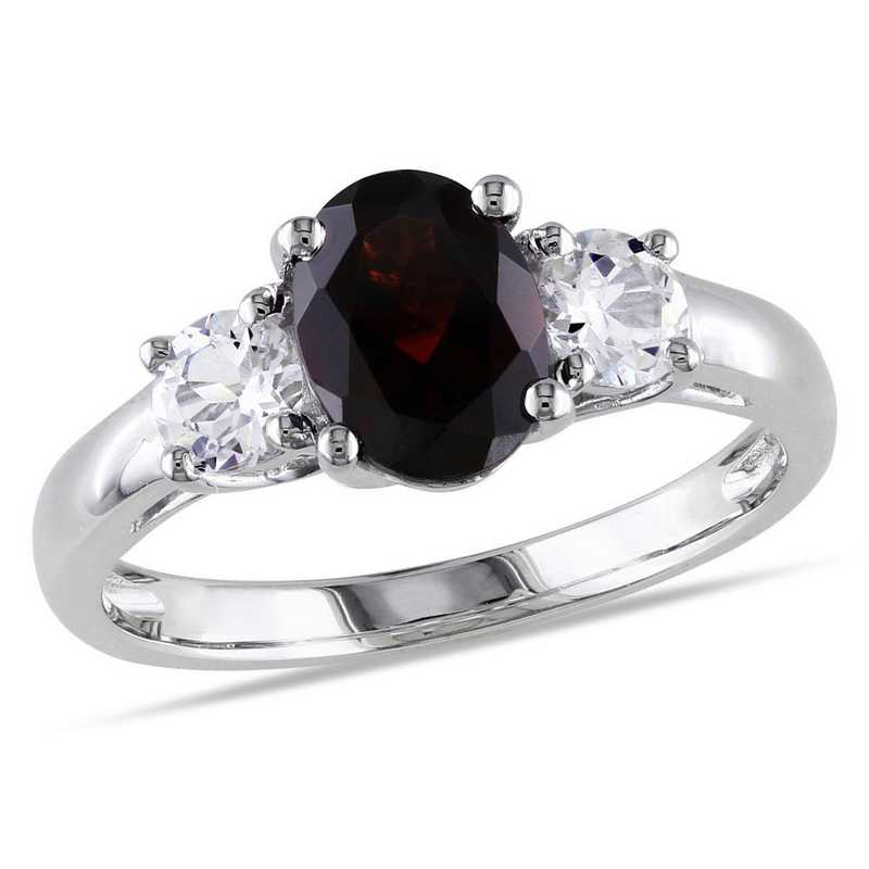 Oval Cut Garnet and Created White Sapphire 3-Stone Ring in Sterling Silver