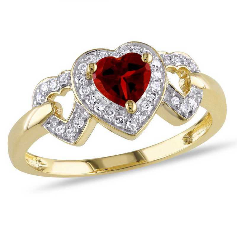 Garnet Triple Heart Ring with 1/8 CT TW Diamonds in 10k Yellow Gold