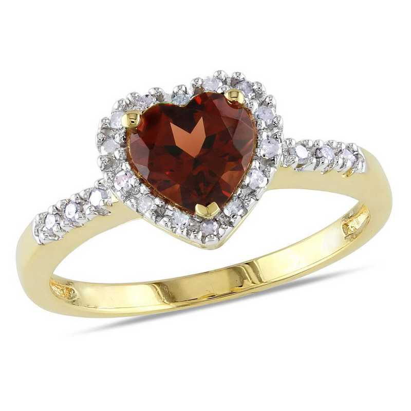 Garnet and Diamond Accent Halo Heart Ring in10k Yellow Gold