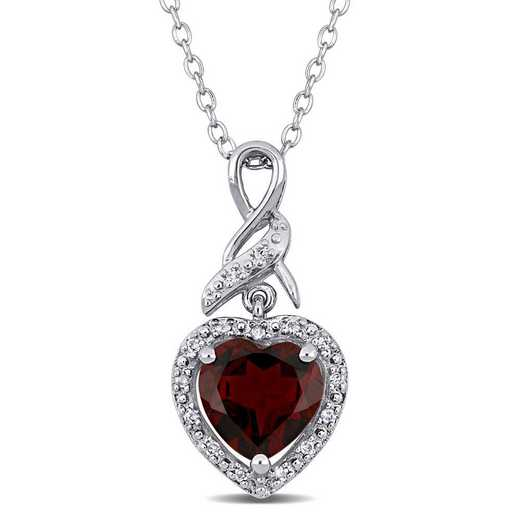BAL000882: Garnet/Diamond Infinity Heart Pendant with Chain in SS