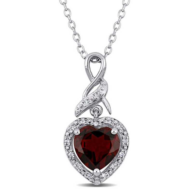 BAL000882: Garnet/Diamond Infinity Heart Pendant with Chain in SS