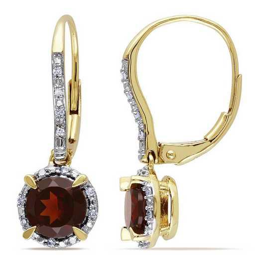 BAL000884: Garnet/1/10 CT TW Diamond Halo Earrings in 10k Yelow Gold
