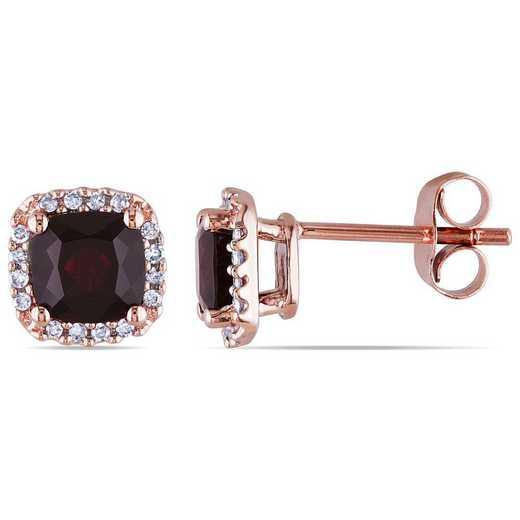 BAL000886: Garnet/1/10 CT TW Diamond Halo Stud Earrings /10k Rose Gold