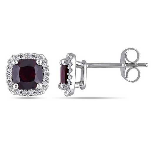 BAL000887: Garnet/1/10 CT TW Diamond Halo Stud Earring in 10k Whte Gold