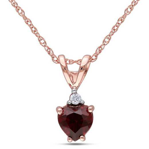 BAL000889: Garnet/Diamond Heart Pendant with Chain in 10k Rose Gold