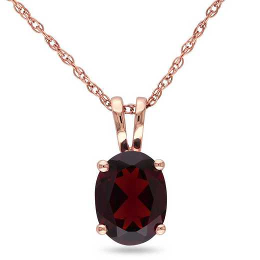 BAL000890: Oval Garnet Solitaire Pendant with Chain in 10k Rose Gold