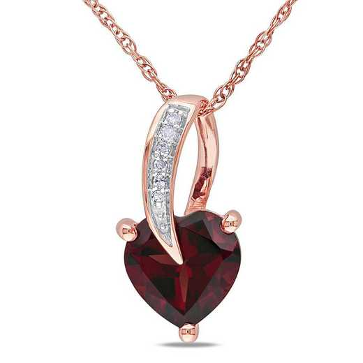 BAL000891: Garnet/Diamond Accent Heart Pendant With Chain/10k Rose Gold