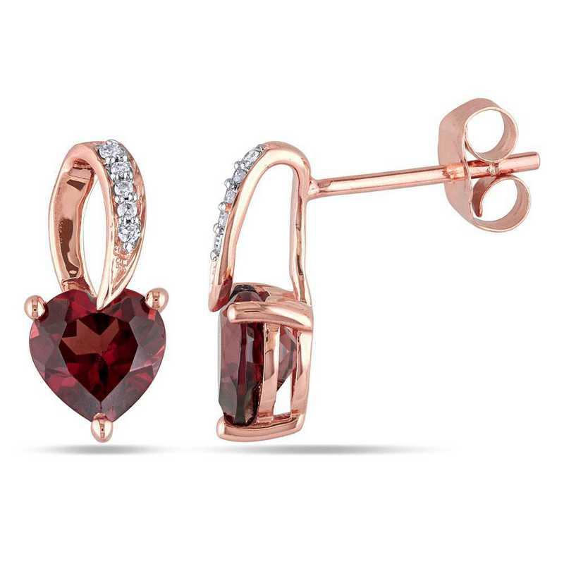 BAL000893: Garnet Heart Earrings with Diamonds in 10k Rose Gold