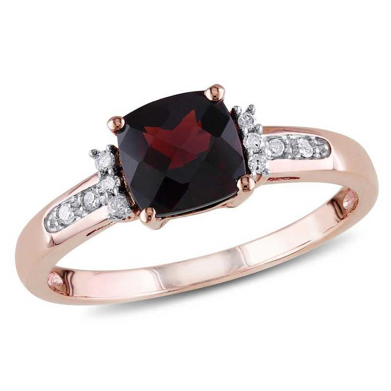 Garnet and Diamond Accent Ring in 10k Rose Gold