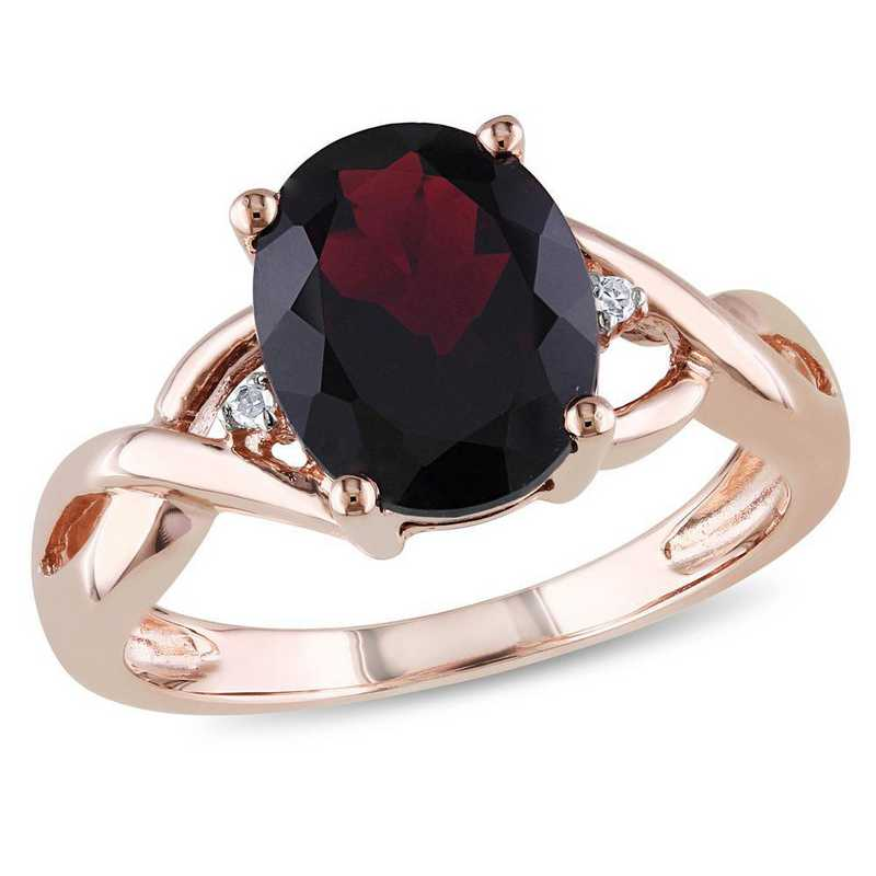 Oval Garnet Ring with Diamond Accents in 10k Rose Gold