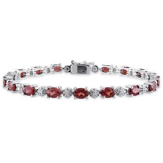 BAL000897: Garnet/Diamond Accent Bracelet in SS