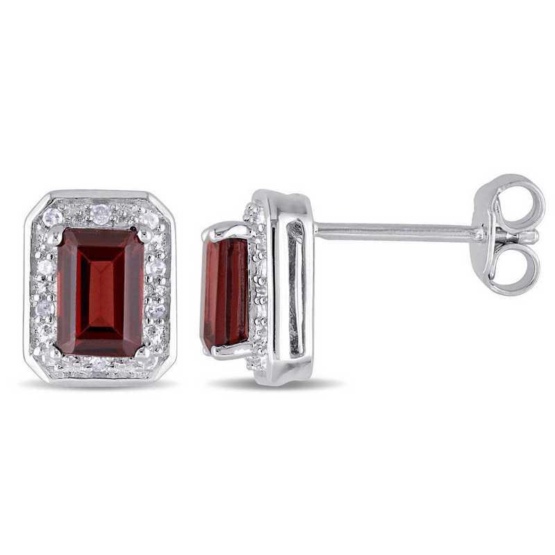 BAL000898: Garnet/1/10 CT TW Diamond Halo Stud Earrings in SS
