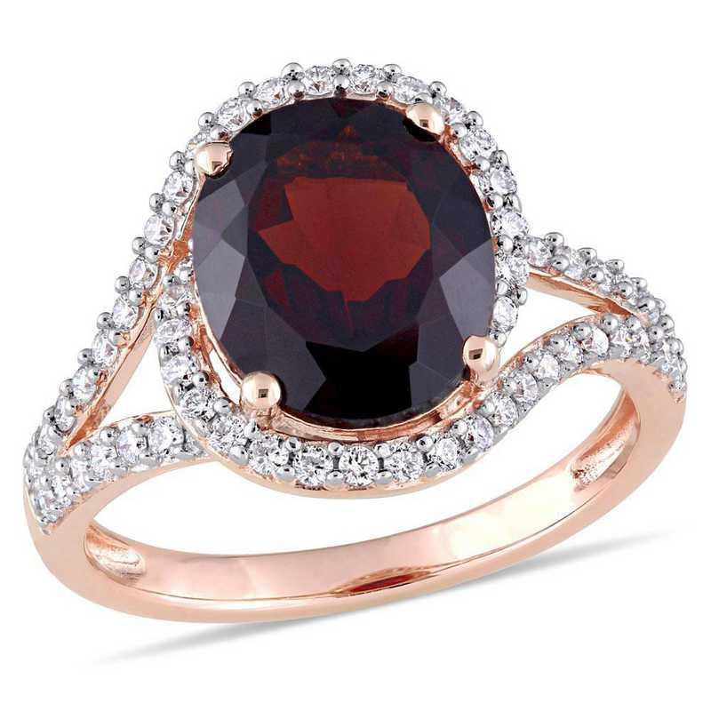 Oval Garnet and 1/2 CT TW Diamond Halo Split Shank Ring in 14k Rose Gold