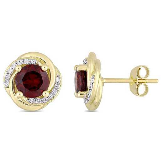 BAL000900: Garnet/Diamond Accent Swirl Stud Earrings in 10k Yelow Gold