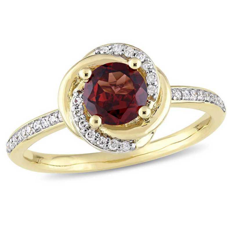 Garnet and 1/6 CT TW Diamond Swirl Ring in 10k Yellow Gold