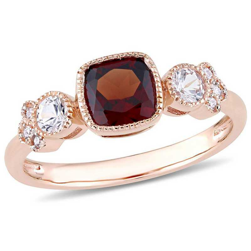 Garnet- White Sapphire and Diamond Accent Ring in 10k Rose Gold